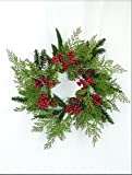 Christmas Cedar, Pinecone Red Berry CANDLE RING/WREATH 15''