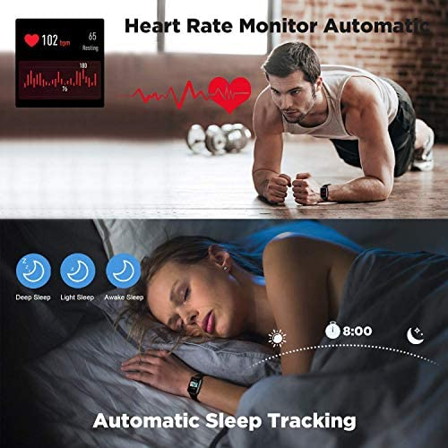 2020 CEGAR Fitness Tracker, Smart Watch with Heart Rate, Ip68 Waterproof Bluetooth Smartwatch for Android iOS Phone, Sleep Tracking Calorie Counter,Pedometer for Women Men (Black) 51kA86b8lXL