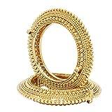 Indian Traditional 18K Gold Plated Open Screw Kada Bangle Bracelet Set 2 Pc Fashion Partywear Jewelry
