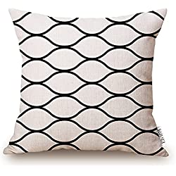 Elviros Linen Cotton Blend Decorative Geometric Design Zippered Throw Pillow Cover 18x18''