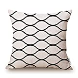 Decorative Pillow Cover - Elviros Linen Cotton Blend Decorative Geometric Design Zippered Throw Pillow Cover 18x18''