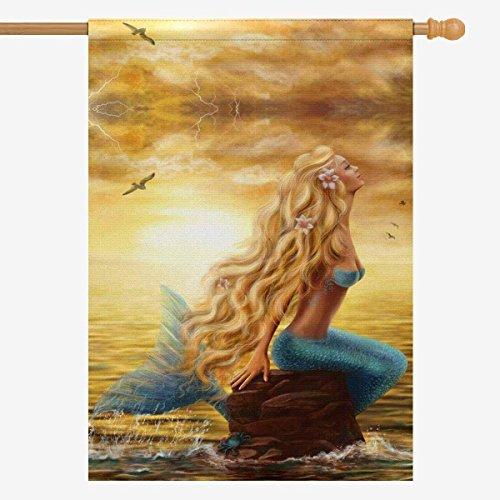 WAZZIT Sunset Ocean Sea Mermaid Long Polyester Garden Flag 2