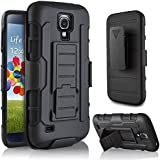 Galaxy S4 Active Case, Starshop(TM) Samsung Galaxy S4 Active I537 Hybrid Full Protection High Impact Dual Layer Holster Case with Kickstand and Locking Belt Swivel Clip Black