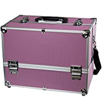 """Makeup Train Case - Professional 14"""" Large Make Up Artist Organizer Kit - Shoulder Bag With Adjustable Dividers, 4 Trays & Key Lock - The Cosmetic Studio Box Is Designed To Fit all Cosmetics - Pink"""