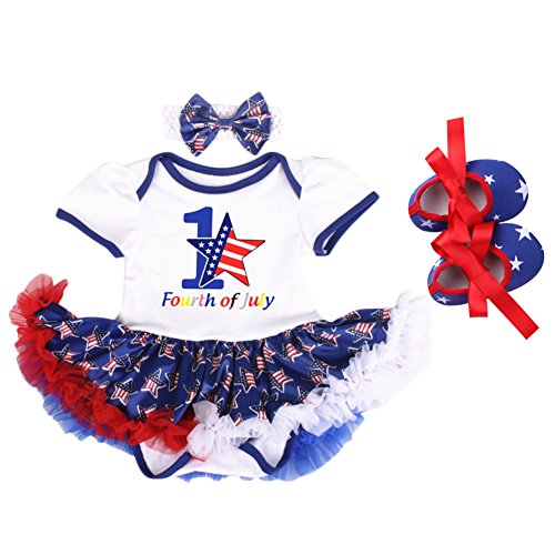 IBTOM CASTLE Newborn Baby Girls 4th of July Outfits Tutu Romper #1-White Stars (3PCS) 6-12 Months