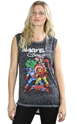 [Marvel Comics Avengers Superheroes Women's Tank Top (Medium, H.Charcoal)] (Avengers Superhero)