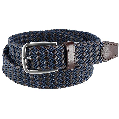 Ascentix Men's Leather and Waxed Cotton Braided Belt, 32, Navy and Brown ()