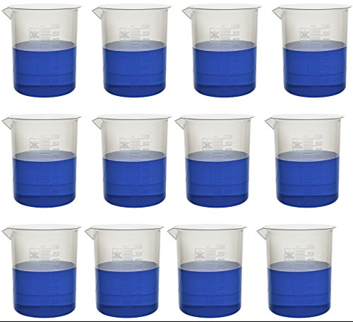 1000ml Plastic Beaker; 20ml Graduations, Premium Polypropylene; Pack of 12