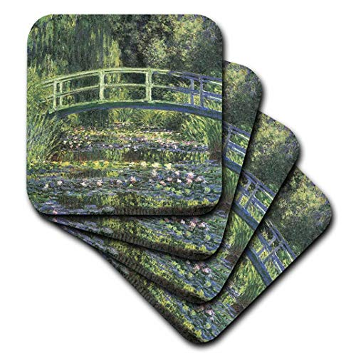 3dRose Water Lilies and Japanese Bridge Monet Vintage-Ceramic Tile Coasters, Set of 4 (CST_164669_3) ()