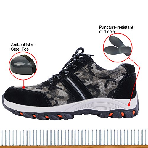 Optimal Toe Shoes Men's Safety Camouflage Work Black Shoes Steel Shoes 1w1rBqH