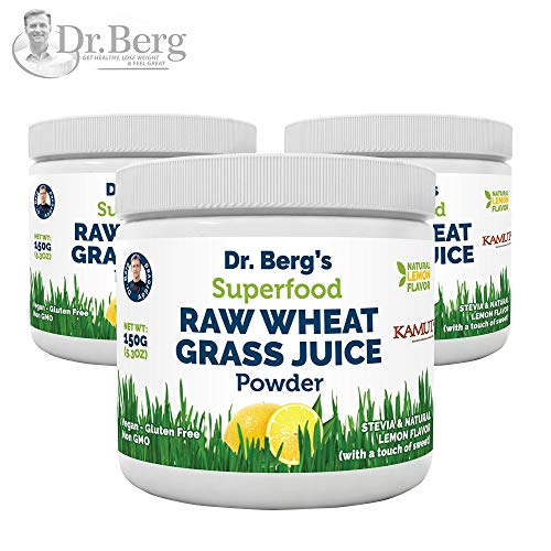 Dr. Bergs Natural Lemon Flavored Wheat Grass Powder with KamutTM -Raw & Ultra-Concentrated Nutrients -Rich in Vitamins, Chlorophyll & Trace Minerals (3 Pack)
