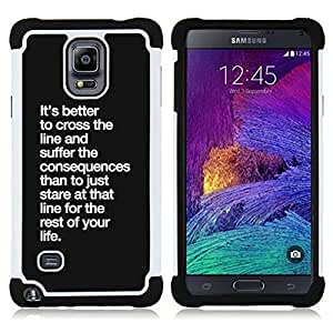 - cross the line consequences life inspirational - - Doble capa caja de la armadura Defender FOR Samsung Galaxy Note 4 SM-N910 N910 RetroCandy