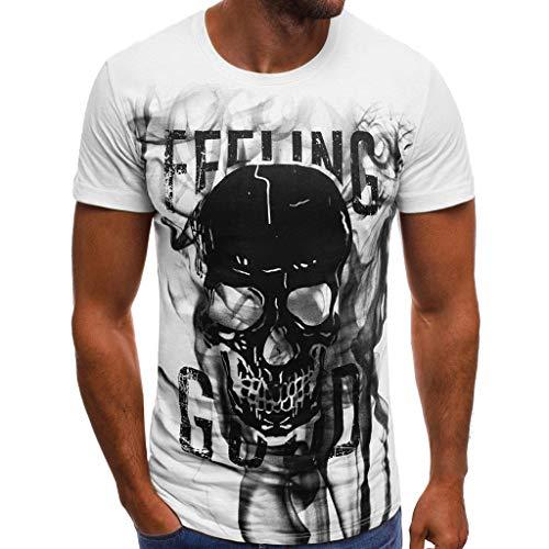 6f87b6cf Naladoo Men's Hip Hop Fashion Letter Skull Printed T Shirt Short Sleeve  Blouse White