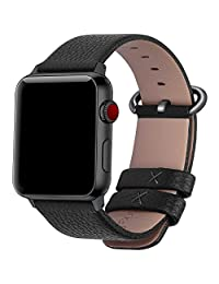 Fullmosa Apple Watch Band 38mm Genuine Leather iwatch strap/band for Apple Watch Series 3 Series 2 Series1 Nike+ Hermes&Edition Men and Women, 38mm Black+Gunmetal Buckle