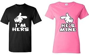 1b0a5542d4 Shop4Ever Cartoon Hands I'm Hers - He's Mine Couples Matching T-Shirts