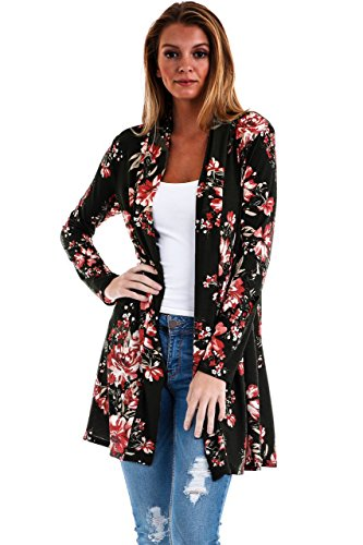 c9aaf9f689 Jual Frumos Womens Open Front Long Sleeve Floral Cardigan Made In ...