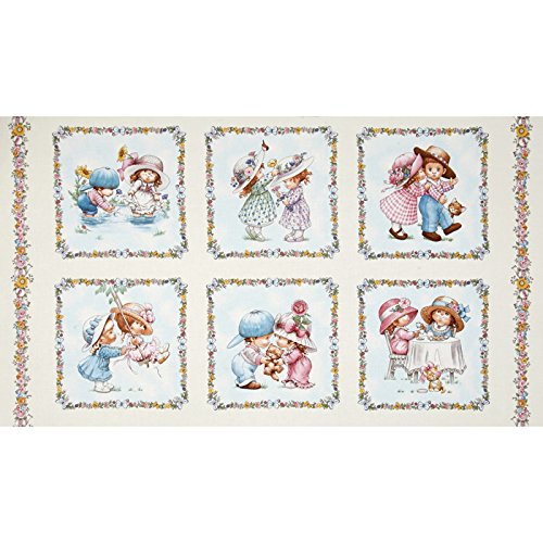 Elizabeth's Studio Sunbonnet Emma & Friends 24 in. Patchwork Panel Cream Fabric