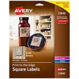 "Avery Square Labels for Laser & Inkjet Printers, 2"" x 2"", 300 Kraft Brown Labels"