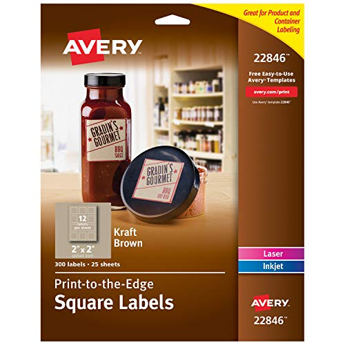 Kraft Paper Labels - Avery Square Labels for Laser & Inkjet Printers, 2