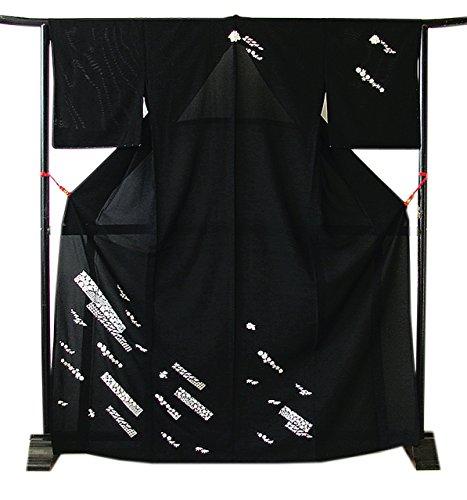 追う忠誠グラディス博多着物市場 きものしらゆり 新品 L ロング 夏物 絽 黒地 総刺繍 高級 附下げ 訪問着 正絹 仕立て上がり 当店仕立て
