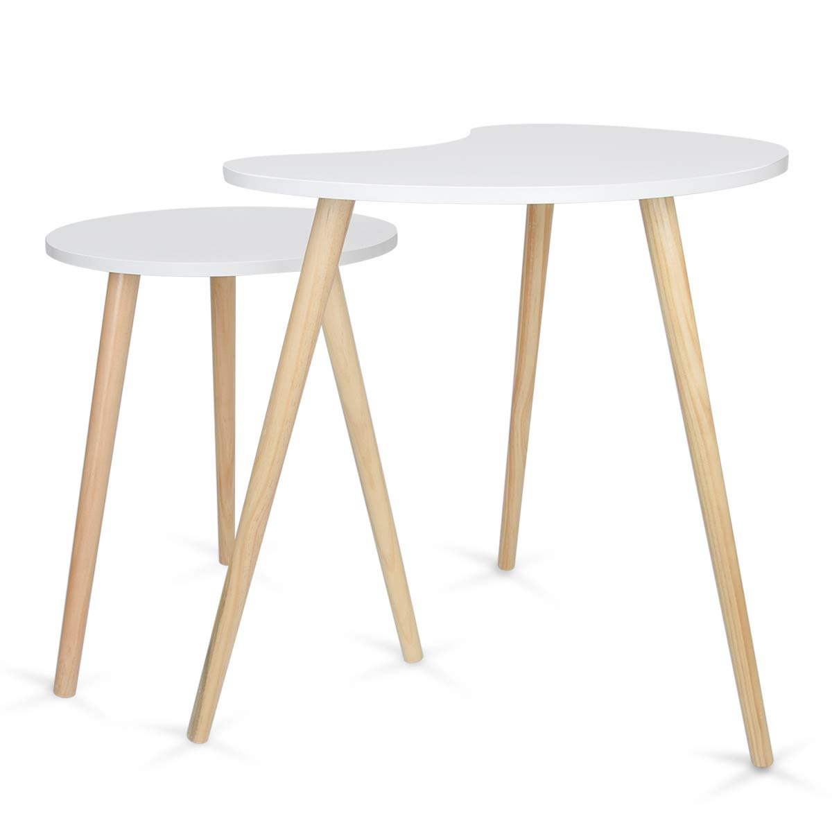 Home-Man Nesting Coffee End Tables Modern Furniture Decor Side Table for Living Room Bedroom Balcony Home and Office, Nature White Pea Shape Tabletop Set of 2 by Home-Man