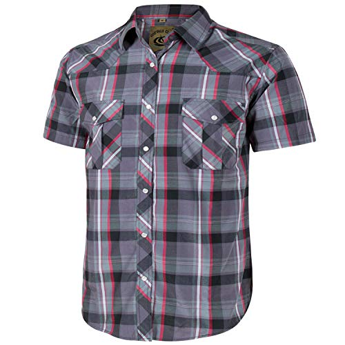 (Coevals Club Men's Short Sleeve Casual Western Plaid Snap Buttons Shirt (M, 23#Purple,Black))