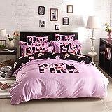 Bobbycool Pink VS Secret Winter Bedding Set Velvet Bed Linen Bed Sheet Set Luxury Wedding Bedding Set Designer Bedding Duvet Cover Queen