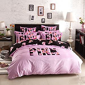 Bobbycool pink vs secret winter bedding set for Bride kitchen queen set