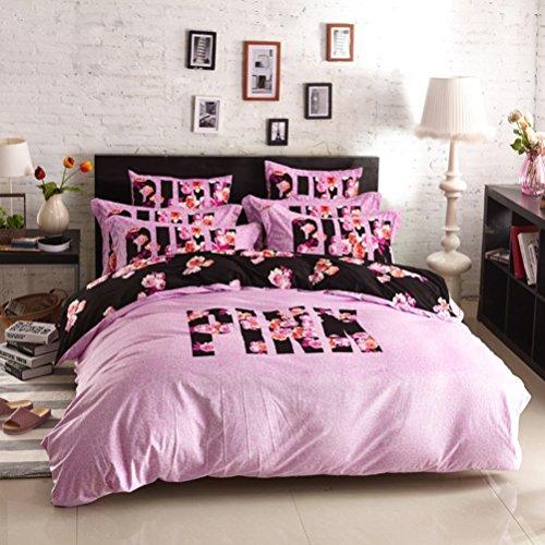 Bobbycool Pink VS Secret Winter Bedding Set Velvet Bed Linen Bed Sheet Set Luxury Wedding Bedding Set Designer Bedding Duvet Cover ()