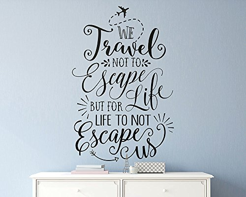 YINGKAI We Travel Not To Escape Life Travel Quote Vinyl Inspired Wall Decal Sticker Living Room Vinyl Lettering Removable Decal For Nursery Kids Room Home Window Decoration by YINGKAI