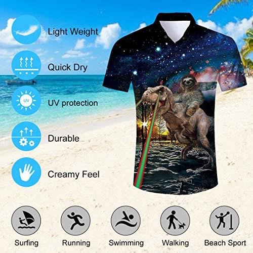 Spreadhoodie Mens Beach Shirt Casual Funky Personalised Anger Dinosaur Short Sleeve Shirt Personalised Dinosaur Parttern Hawaii Summer T-Shirts Tops Blouse L