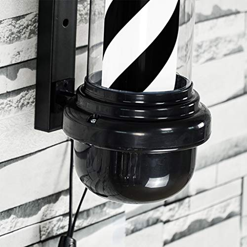 QIAO LED Barbers Pole Hair Salon Logo Rotating Light Black and White Rotating Light Salon Shop Sign Wall Light (Color : Black+White, Size : 88cm) by QIAO (Image #3)
