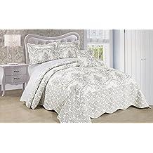 Serenta Damask 4 Piece Bedspread Set, King, White