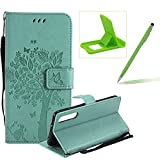Strap Leather Case for Huawei P20 Pro,Bookstyle Magnetic [Green Solid Color] Stand Flip Case for Huawei P20 Pro,Herzzer Premium Elegant Butterfly Tree Cat Print Fold Wallet Folio Smart Case For Huawei P20 Pro + 1 x Green Cellphone Kickstand + 1 x Green Stylus Pen