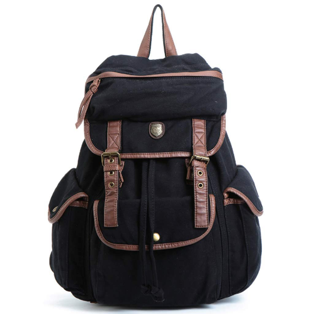 LFF.FF Leinwand Rucksack Student Bag Outdoor-Groß Kapazität Reisetasche Männer und Frauen Casual Bag D