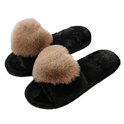 d01f046cfef6 Women Cute Fluffy Hairy Fur Slippers Soft Winter Cotton Plush Slippers Non  Skid Sole Size 250