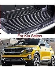 Momoap / Car Black PU Leather Car Boot Pad Liner Cargo Mat Tray Trunk Floor Protector Mat for Kia Seltos KX3 2020-2021