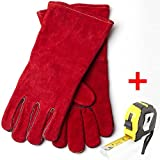 Welding & BBQ Gloves, Premium Grade A Cowhide Leather, Heavy Duty Hand Shield, Extreme Heat & Wear Resistant, 14 In / Retractable Measuring Tape Measure 10Ft Flexible Ruler with Self-Lock (Red/Yellow)
