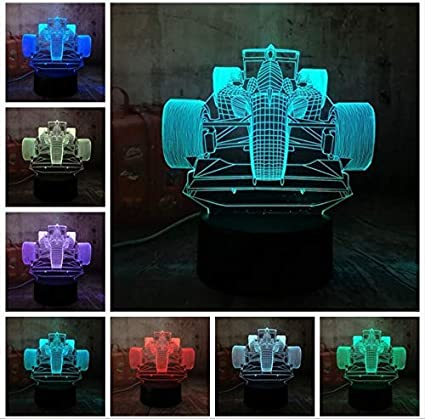 BMY 3D Led Lamp Cool Formula Racing Car 7 Color Gradient