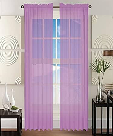 Amazon 2 Piece Solid Lavender Purple Sheer Window Curtains Drape Panels Treatment 60w X 84 Home Kitchen