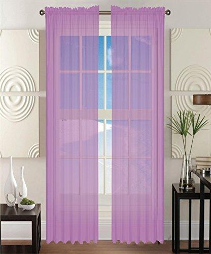 2 Piece Solid Lavender Purple Sheer Window Curtains/Drape/Panels/Treatment  60u0026quot
