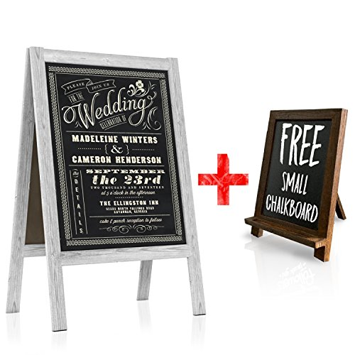Border Bold Big (Chalkboard Wedding Sign - Large A Frame Standing Sidewalk | Vintage Sandwich Board Style with Rustic White Wood A-Frame for Indoor & Outdoor Use | Restaurant Menus, Cafe Specials, Business Displays)