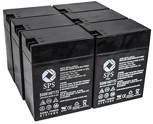 SPS Brand 6V 14 Ah Terminal T1T2 Replacement Battery for Ohio Medical Products 504US Pulse OXIMETER (6 Pack)