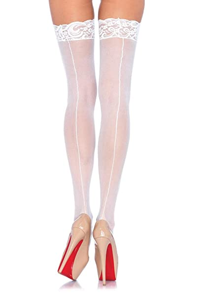 1940s Style Wedding Dresses | Classic Wedding Dresses Leg Avenue Sheer Stocking with Back Seam Lace Top $19.83 AT vintagedancer.com