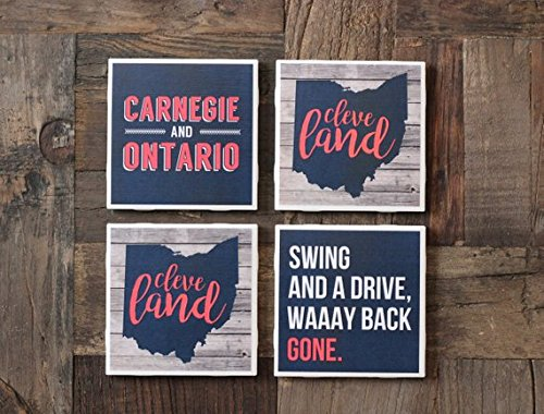 Cleveland/Cleveland Coasters/Cleveland Gift/Ohio/Roll Tribe/Windians/Cleveland Baseball/The Land/Coasters/Tile Coasters/