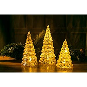 Christmas LED Handmade Glass Lighted Christmas Tree Figurine with Time Controller Mercury Antique Silver Vintage Gift Present Ornament 3 Piece Mouth Blown Decoration for Window Tabletop Mantel Shelf