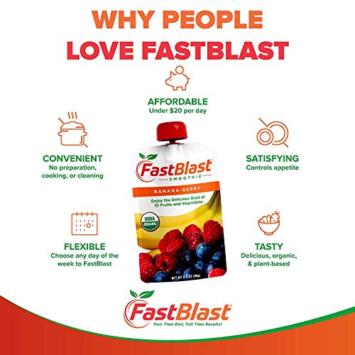 FastBlast Banana-Berry Smoothie. Supports Intermittent Fasting. Controls Appetite and Maintains Energy. USDA Certified Organic, Vegan, Non-GMO, Soy Free & No Added Sugar (48 Units: 4 Packs of 12) by FastBlast (Image #4)