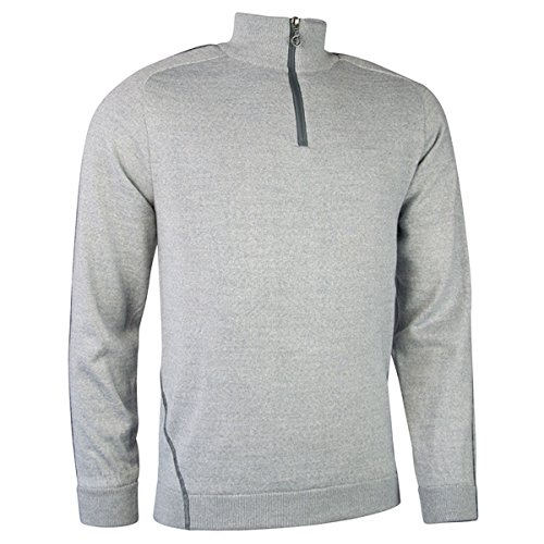 Sunderland Mens Water Repellent Zip Neck Performance Lined Sweater (M - 40-42 inch Chest, Silver/Gunmetal)