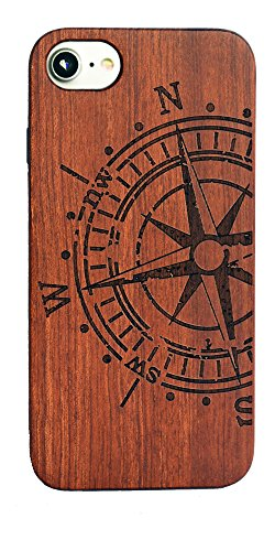 (OTOOLWORLD Retro Nature Wood Case for Apple iPhone 6/6S iPhone 7 iPhone 8 Cover Wooden Cases (compass))