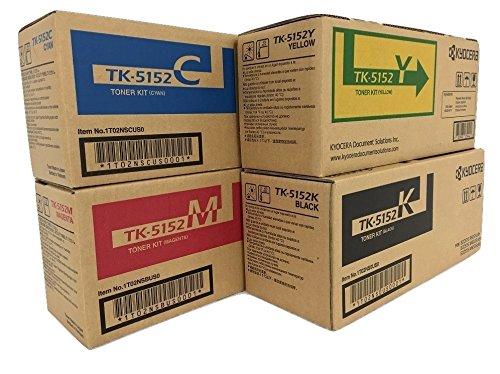KYOCERA TK5152 Black, Cyan, Magenta, Yellow Original LaserJet Toner Cartridge Set for Kyocera ECOSYS M6035cidn, M6535cidn and P6035cdn